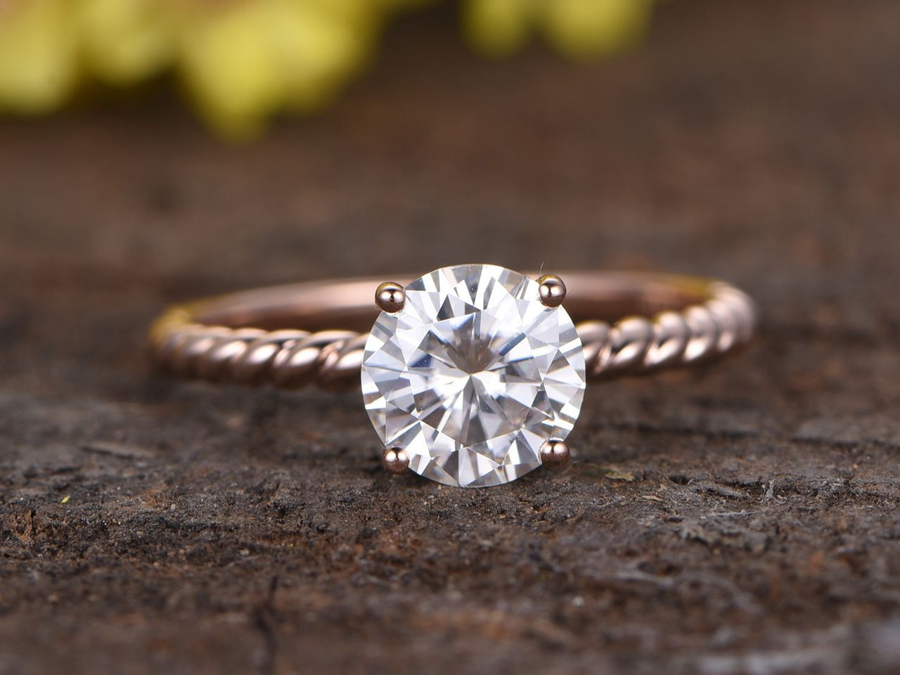 Round 1 5 Carat Moissanite Solitaire Engagement Ring Diamond 14k