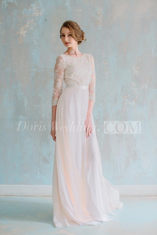 A line chiffon wedding dress  Three Quarter Illusion Sleeve Jewel Neck ALine Chiffon Dress With