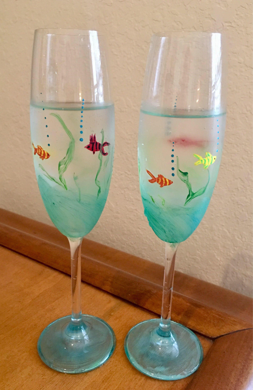 Coastal Summer Decor Hand Painted Blue Octopus Wine Glass Set