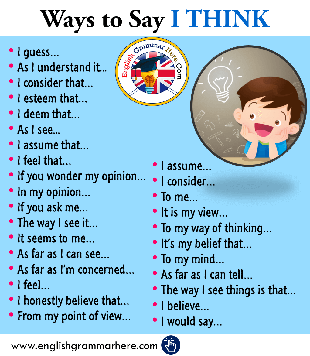 Ways to Say I THINK in English   Learn english vocabulary, English ...