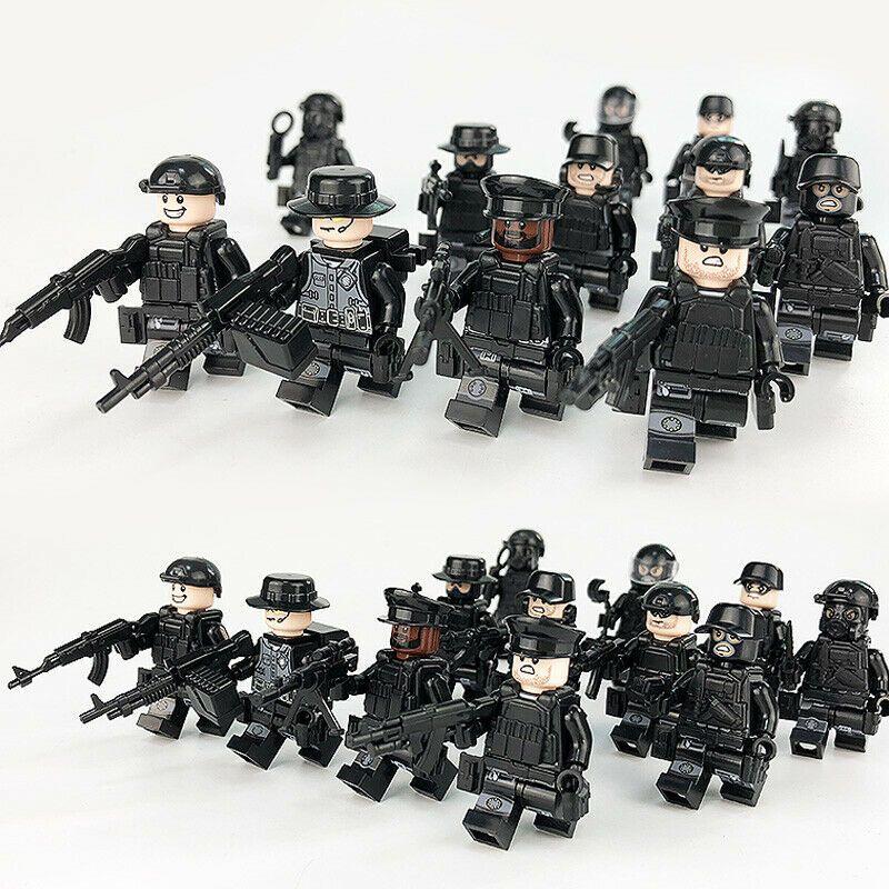 New 12pcs Lego Military SWAT Teams Figure Set City Police Weapon Block LEGO
