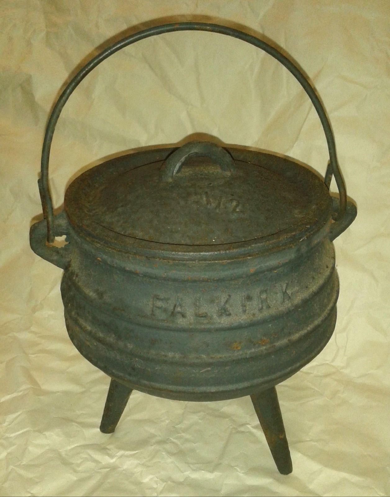 Antique falkirk cast iron cauldron 12 potjie cooking