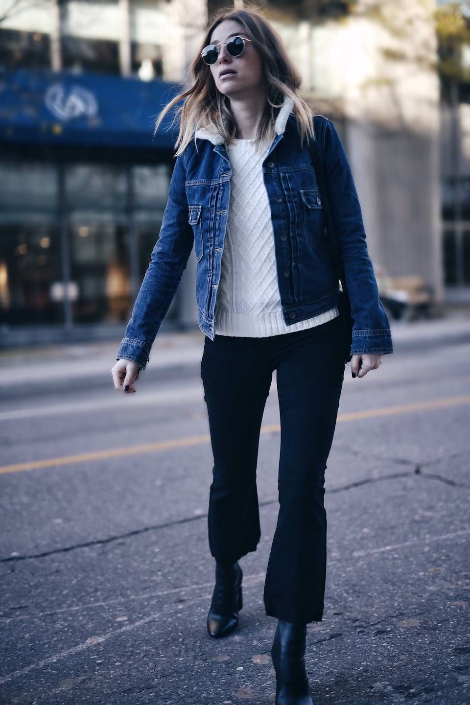 how to wear a shearling denim jacket, casual cool street style, editor tips tricks, women's fashion, online shopping, old navy collaboration, celine bag