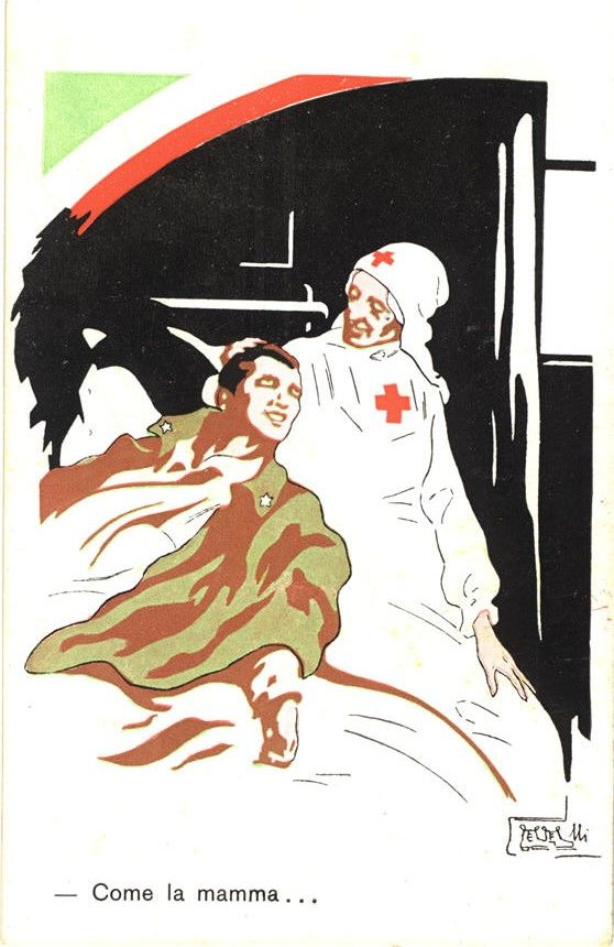 The nurse portrayed as the healing mother of a wounded soldier, ca. 1916. Pictures of Nursing: The Zwerdling Postcard Collection. National Library of Medicine