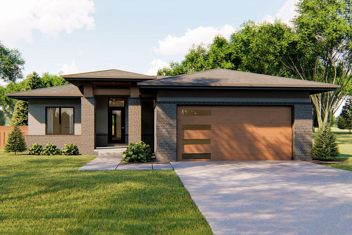 Plan 62752dj Modern One Level House Plan With 3 Bedrooms One Level House Plans Modern House Plans Prairie Style Houses