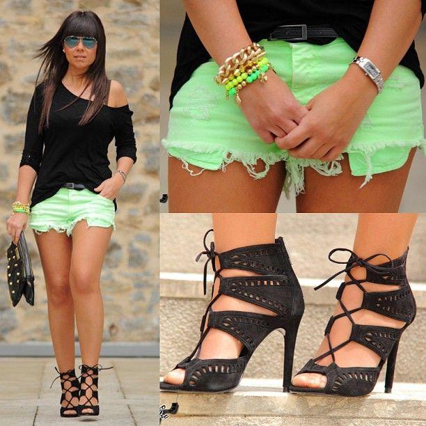 Neon jean shorts! Cute!