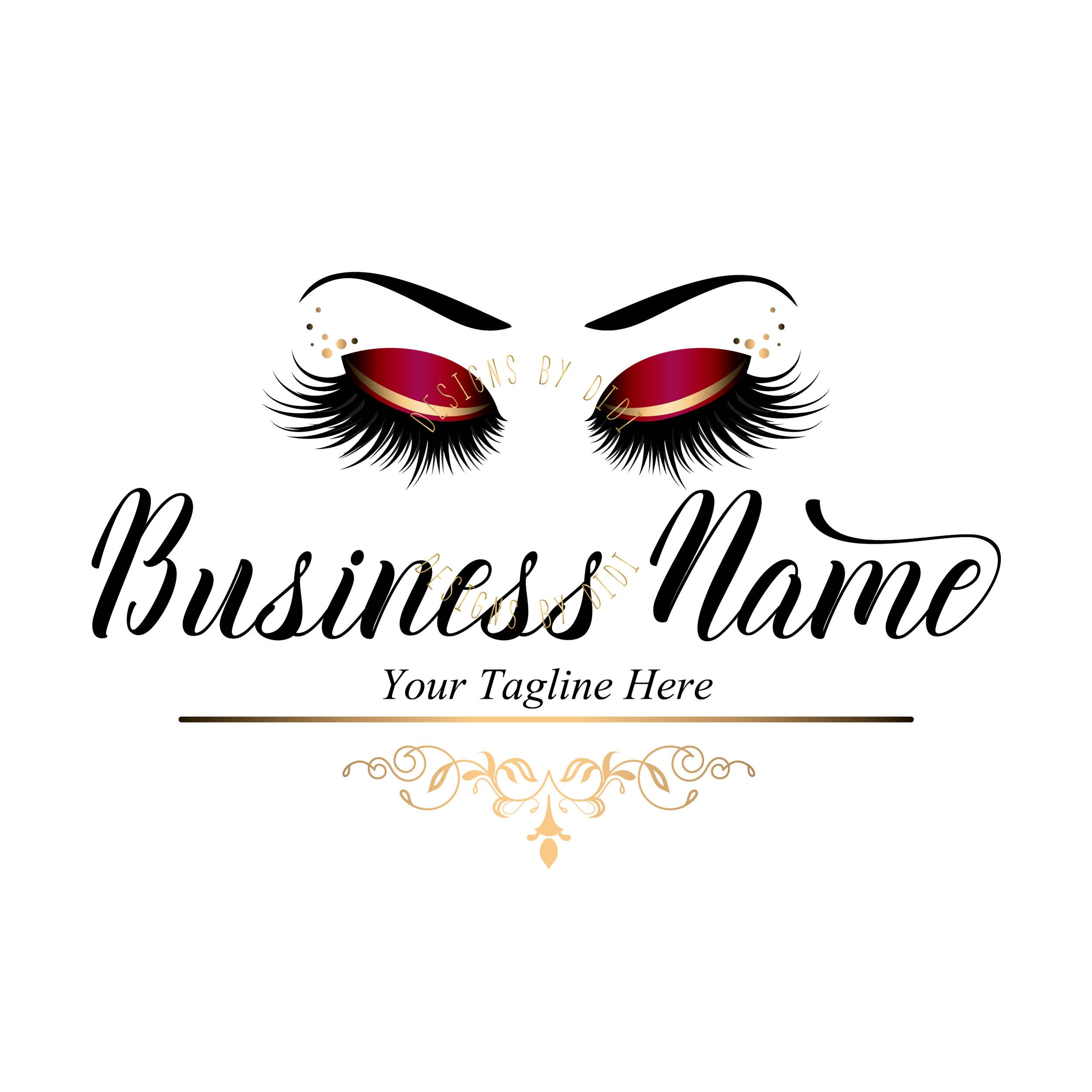 Custom Logo Red Gold Lashes Logo Magenta Eyelash Logo Cosmetics Logo Gold Black Lashes Logo Lashes E Eyelash Logo Lashes Logo Makeup Artist Business Cards