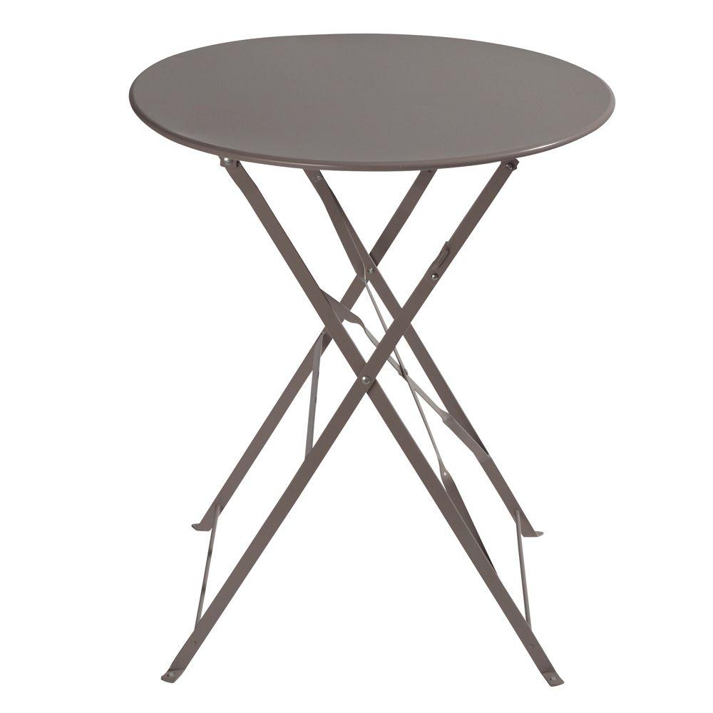 Table de jardin pliante en métal taupe D58