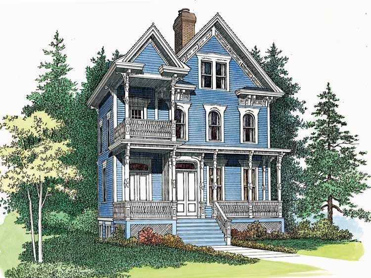 Eplans Queen Anne House Plan Delicate Queen Anne Victorian 2566 Square Feet And 3 Bedrooms S Victorian House Plans Queen Anne House Narrow Lot House Plans
