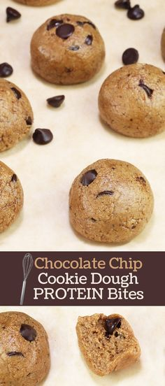 Delicious and easy! Chocolate Chip Cookie Dough Protein Bites Mix made with whey protein by Andréa's Protein Cakery.