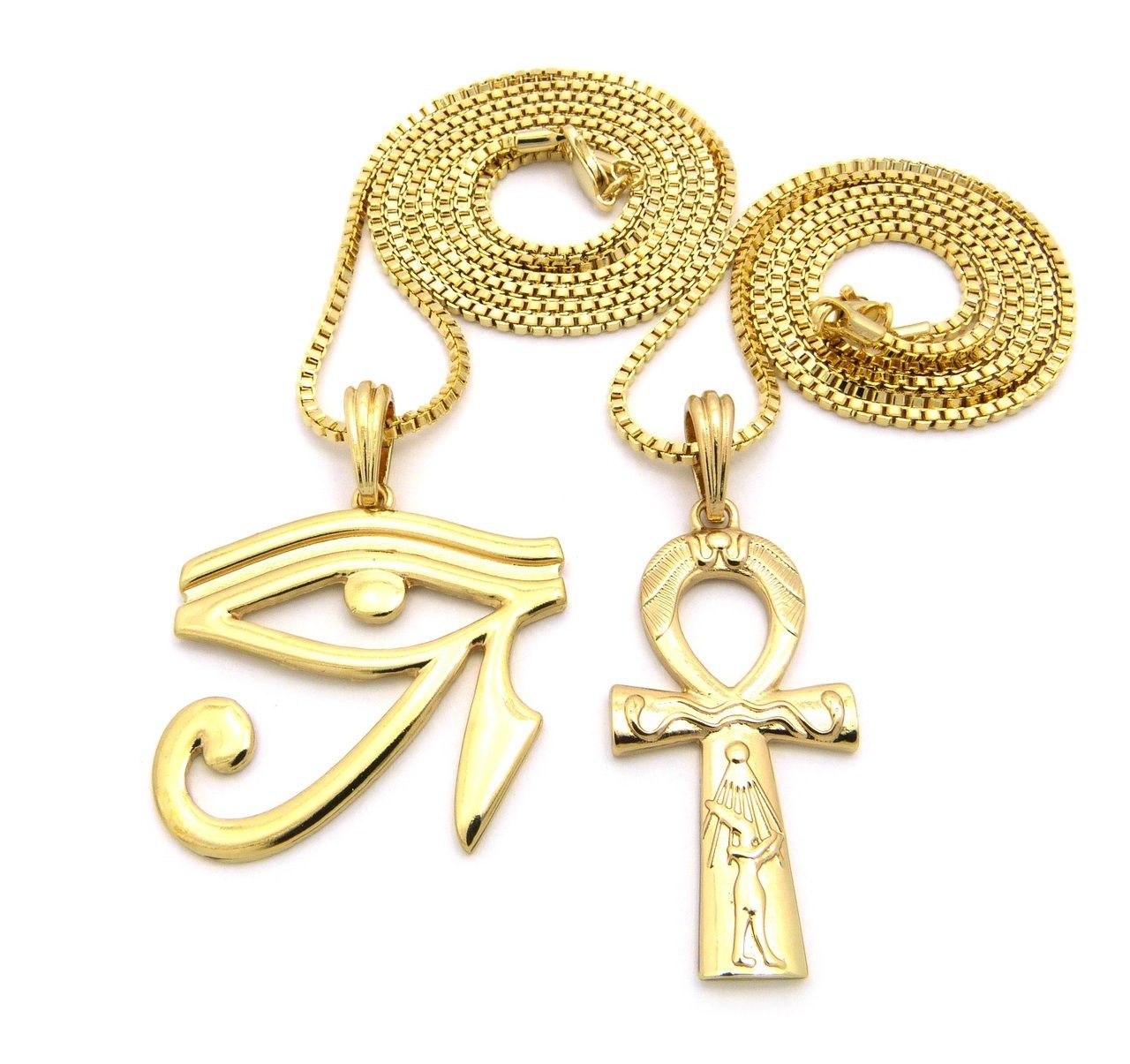 Eye Of Ra Ankh Cross Small Micro Pendant Chain Necklace Gold Bling
