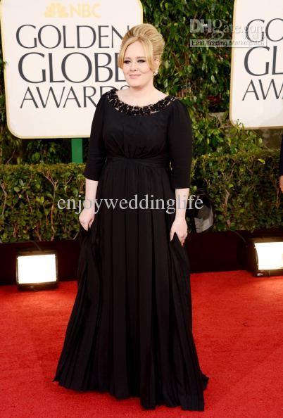 Wholesale Celebrity Dresses - Buy 2013 Golden Globes Long Sleeves Black Chiffon Plus Size Beaded Celebrity Dresses Worn by Adele, $104.2 | DHgate