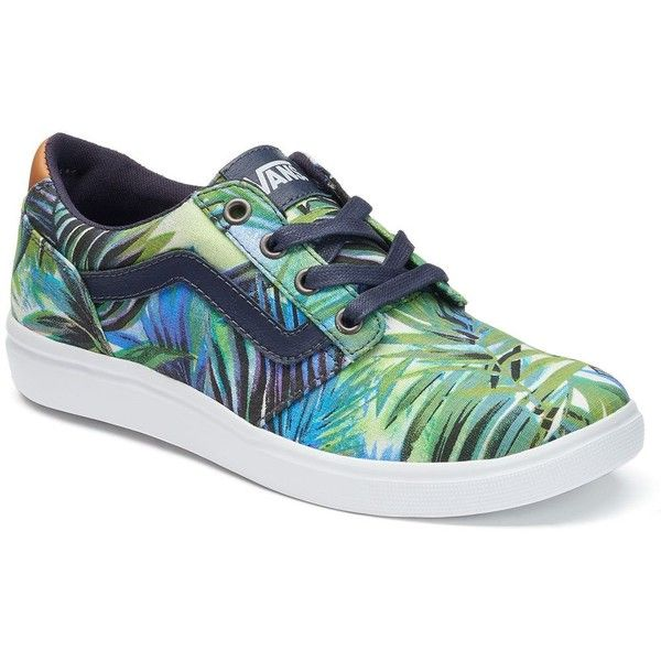 womens Skateboarding Shoes Canvas green tropical leaves Sport Sneaker