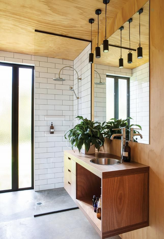 Love The Simplicity Of This Vanity Looks Great And White Subway Tiles Concrete Floor Are A Nice Minimalist Look