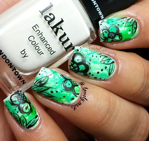 50 Watercolor Nail Art Ideas Black Polish Nail Nail And Beauty Nails