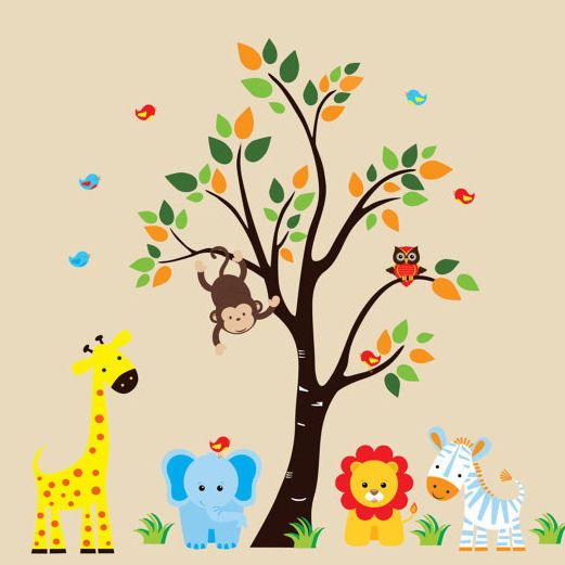 Personalized Nursery Animals With Tree Wall Decals Baby - Jungle themed nursery wall decals