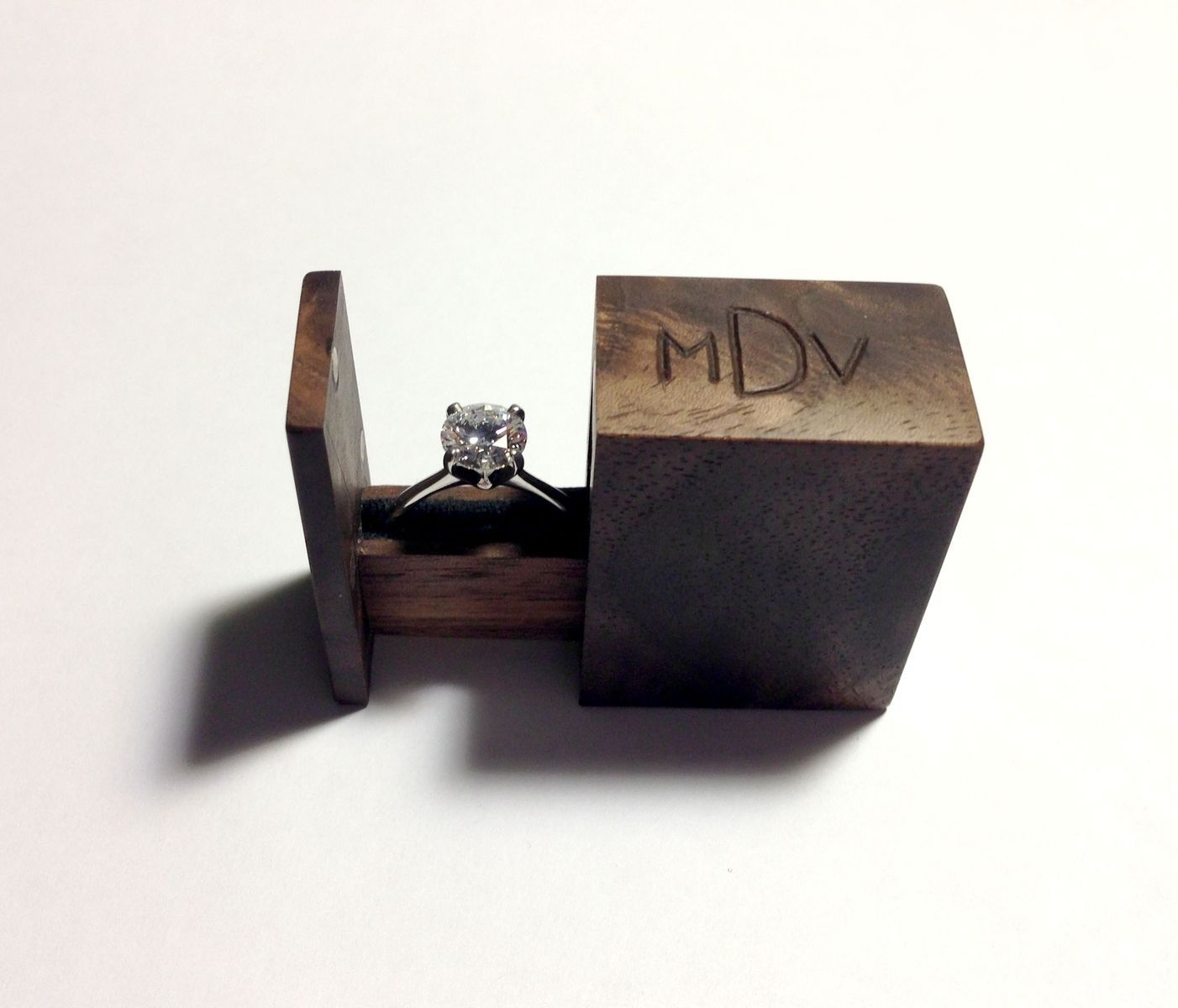 Custom Made Teeny Tiny Ring Drawer Wooden Engagement Ring Boxes