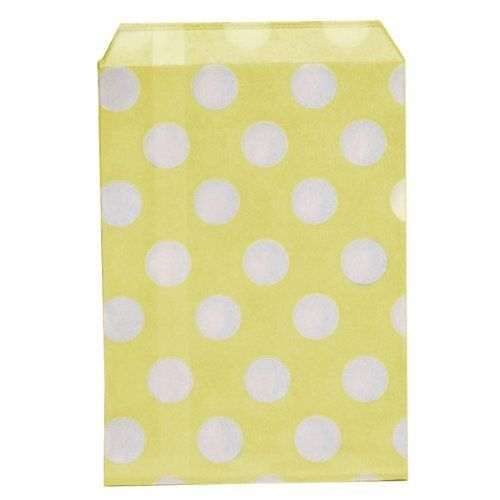 "Dress My Cupcake 96-Pack Favor Bags, Yellow with White Dots by Dress My Cupcake. $45.44. Bags have a flat pinched bottom with no side gusset. Distributed by Dress My Cupcake, the world's largest dessert table supplies company. Favor Bags are biodegradable - Perfect for the event planner. Pair this with other best-selling Dress My Cupcake products, such as cupcake wrappers and liners, stands, tissue pom poms, and vintage paper straws"". ""Favor bags are perfect for w..."