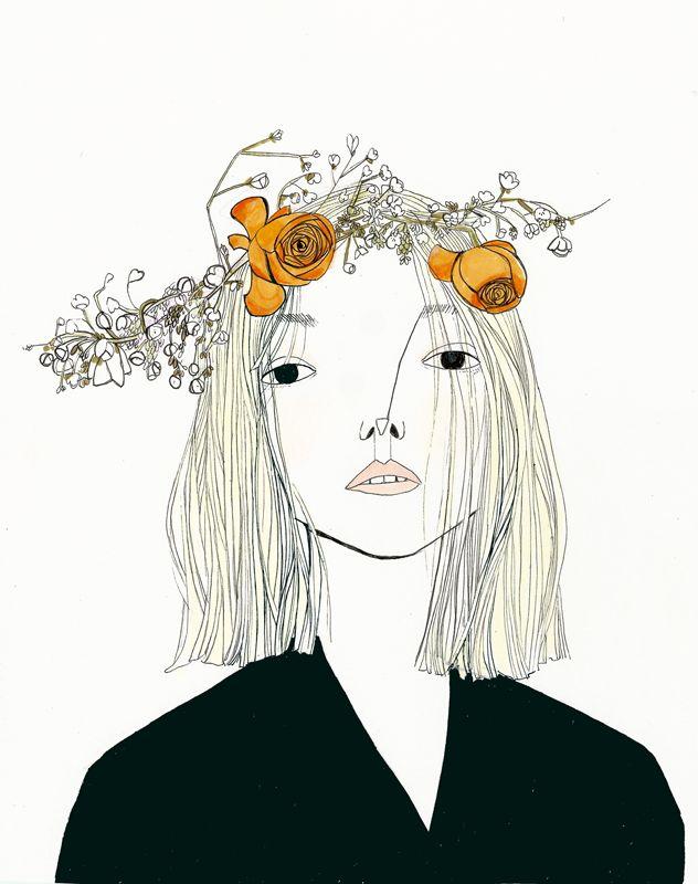 thistledown spirits like a fresh cut springtime daisy fashion illustration face portrait illustration