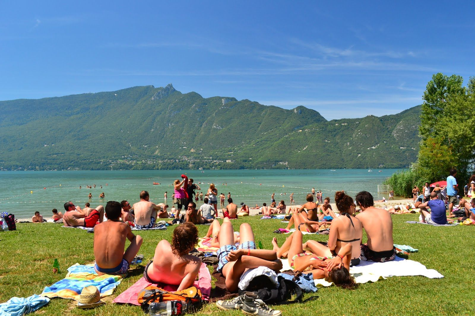beach of aix les bains in the french alps, the lake of bourget