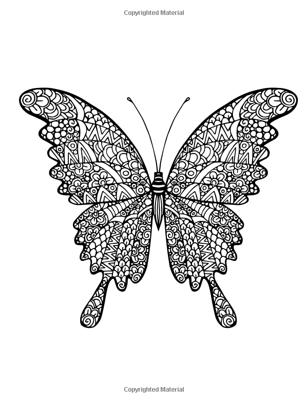 Adult Coloring Book Butterflies And Flowers Stress Relieving