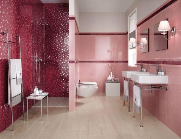 pink bathroom tiles modern bathroom interior design ideas | pink, Wohnzimmer dekoo