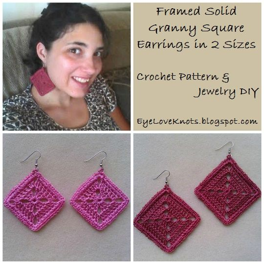 Framed solid granny square earrings in 2 sizes free crochet eyeloveknots framed solid granny square earrings in 2 sizes free crochet pattern jewelry dt1010fo