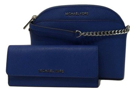 ae75e818d948 Michael Kors Md Emmy and Matching Jet Set Travel Flat Wallet Electric Blue  Leather Cross Body Bag. Get the trendiest Cross Body Bag of the season!