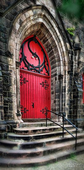 Dramatic red door trimmed in black scroll-work rivets the eye with its soaring Gothic & Dramatic red door trimmed in black scroll-work rivets the eye with ... Pezcame.Com