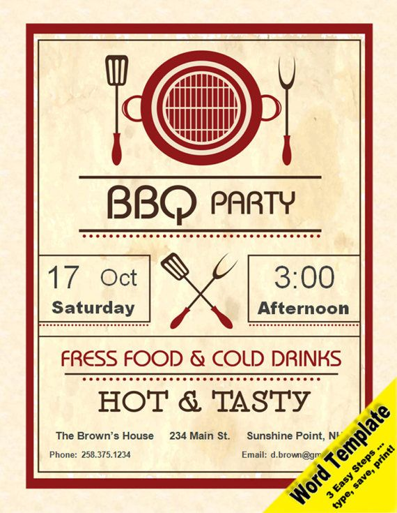 Barbecue Party Invitation Editable WORD Template Printable Etsy