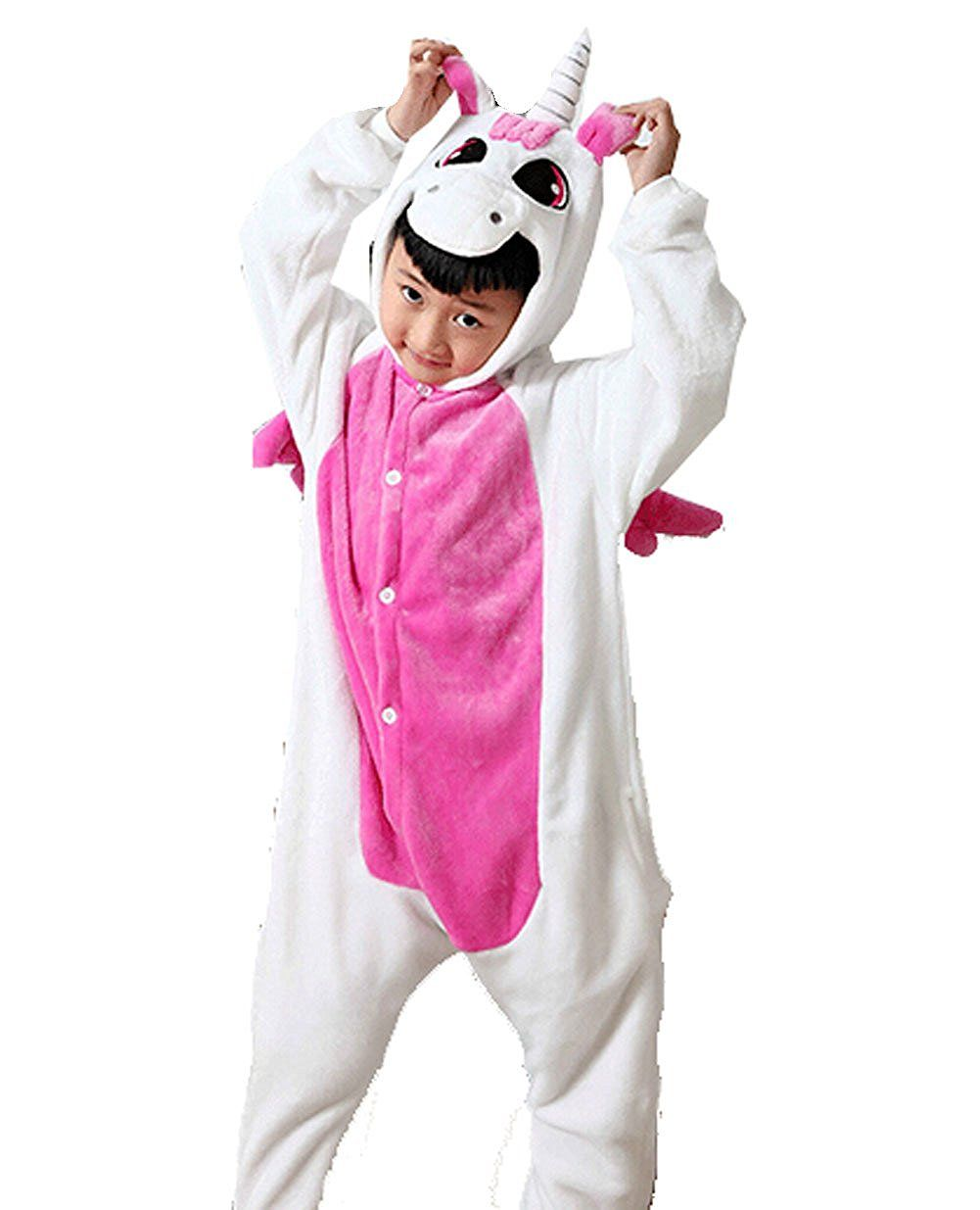 e8675e4005cd Children Warm Flannel Onesie Pyjamas One Piece Animal Pyjamas Pink ...