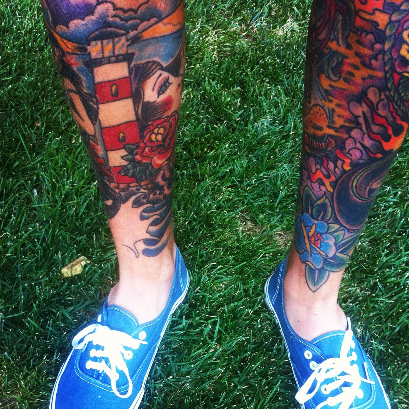 Lower leg guys traditional sleeve tattoos - Traditional Tattoos Leg Tattoos Leg Sleeve