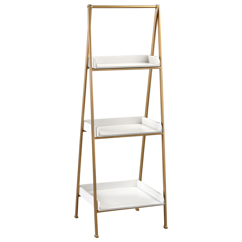 The gold u white accent shelf provides sleek storage for modern