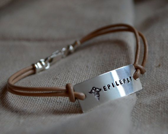 Simple Sterling Medical Alert Bracelet Custom Personalized Hand Stamped Leather On Etsy 28 00