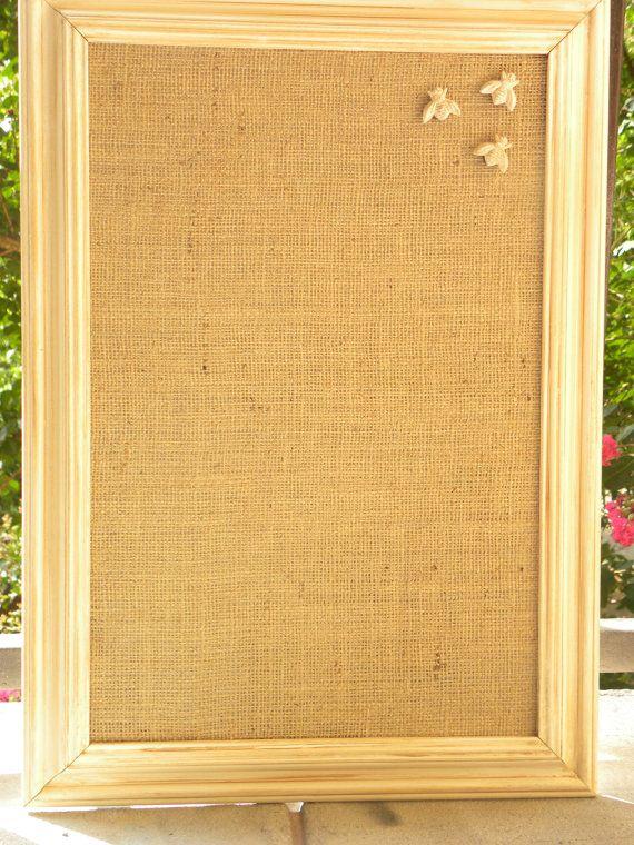 Decorative Magnet Board, Fabric Covered Magnet Board, Bulletin Board.  $48.00, Via Etsy
