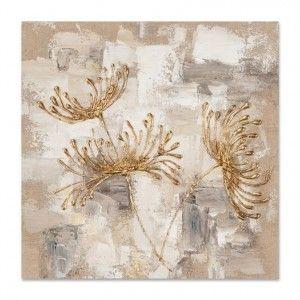 FLEURS 40x40 Peinture acrylique carré Beige et Doré (avec images)   Peinture, Comment peindre ...