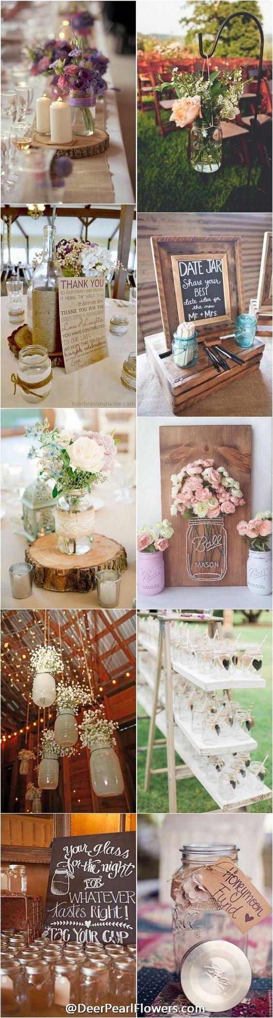Mason Jar Rustic Wedding Decor Ideas