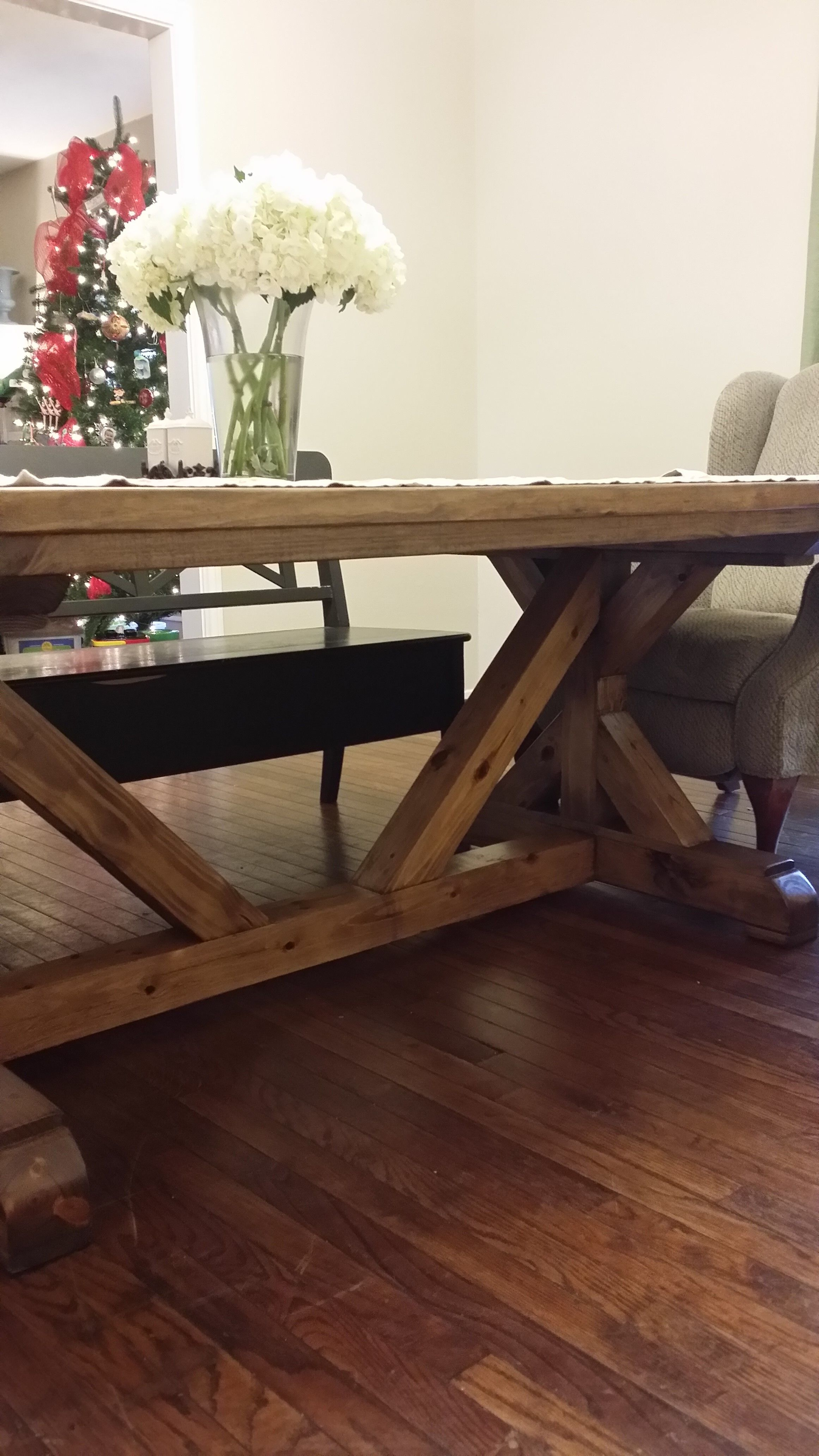 Fancy X Farmhouse table with 4x4 base Do It Yourself