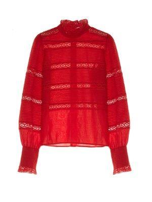 Ria high-neck lace-insert blouse | Isabel Marant Étoile | MATCHESFASHION.COM