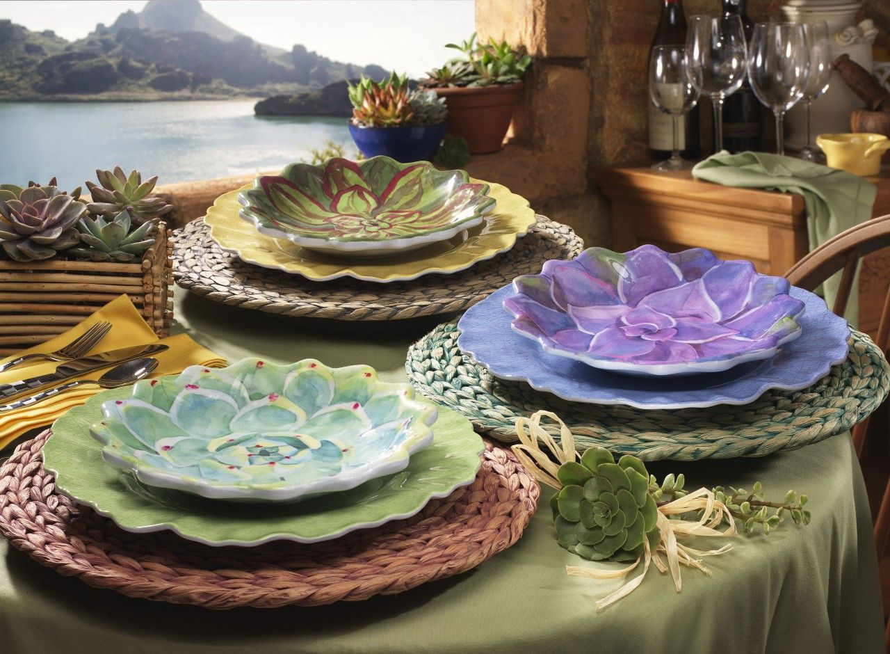 Merritt Succulent Garden Mint Melamine Salad/Luncheon Plates (Set Of 6) |  Patio Dining And Entertaining | Pinterest | Plate Sets, Succulents Garden  And ...