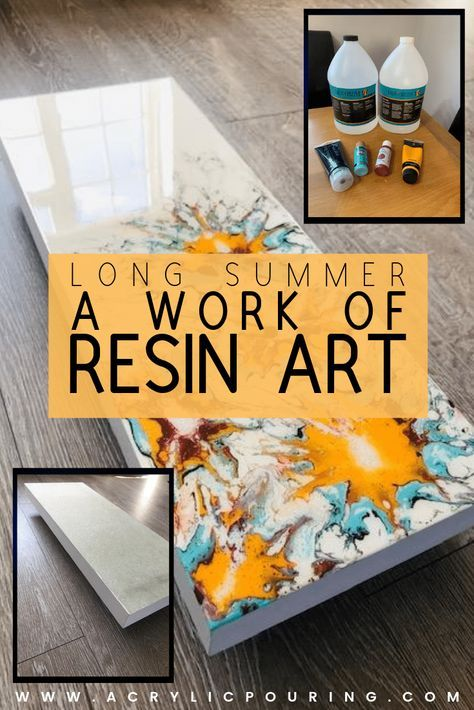 Check out this acrylic pouring resin art with a theme that is perfect for the summer. #acrylicpouring #resinpour #technique #summer #art #creativity #fluidart #fluidpainting #acrylicforbeginners #acrylics #summerart #resin | resin art inspiration