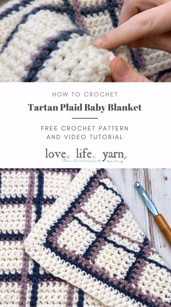I LOVE this tartan plaid technique!!  Use surface slip stitch to achieve a plaid look.  If you can single crochet, you CAN make this blanket!!  Want the FREE pdf to download, too?  Get access to the subscriber exclusive pattern vault by signing up for our newsletter at the bottom of the post!