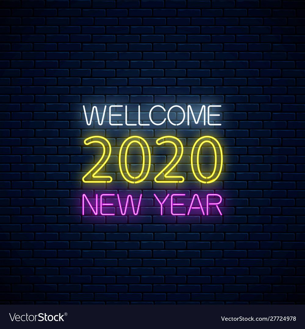 2020 new year glowing neon text 2020 new vector