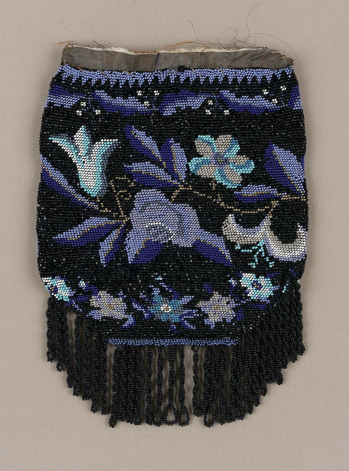First Half 19th Century America Knitted And Beaded Drawstring Bag Glass And Gilt Metal And Silk Knit With Silk Leather And Line Bead Knit Beaded Knitted