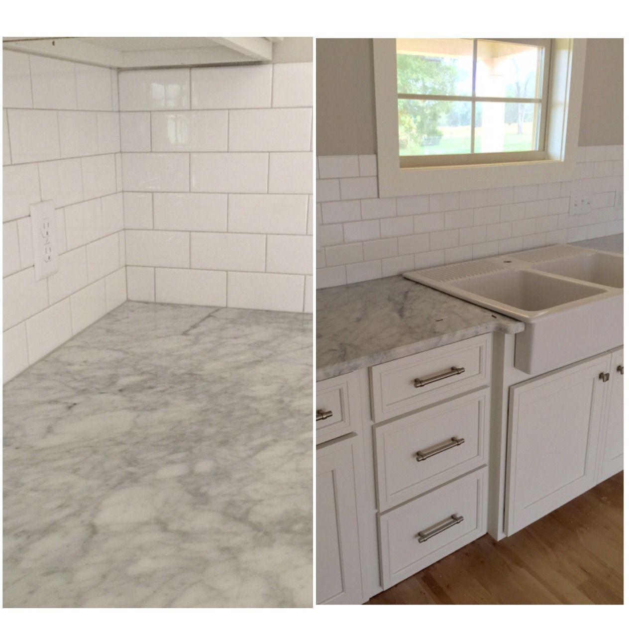 Subway tile with white Carrara countertops and IKEA domsjo