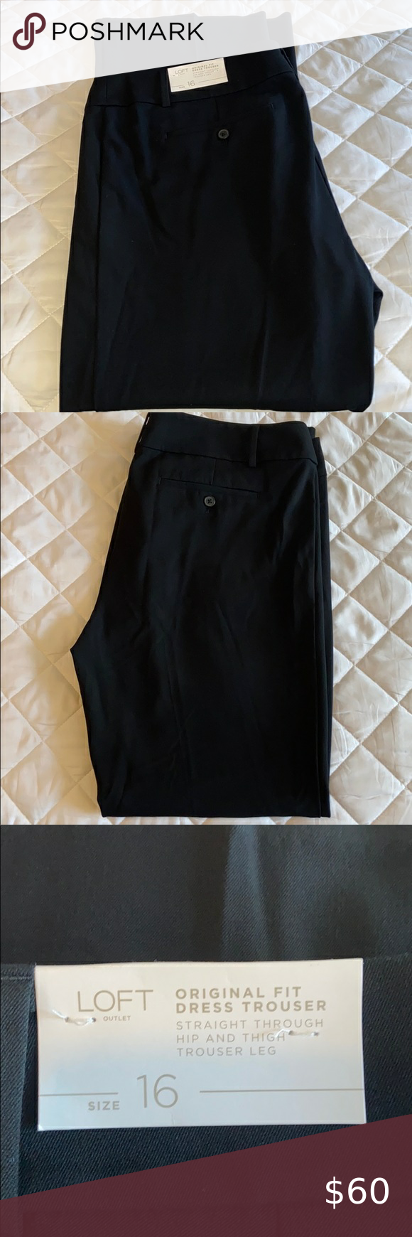 Loft Black Dress Work Pants Size 16 Dresses For Work Black Dress Black Dress Pants [ 1740 x 580 Pixel ]