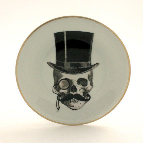 Vintage Hat Tattoos: Altered Art, Lord Skull Plate, Vintage Plate Porcelain