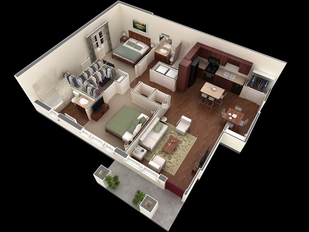 11 simple two bedroom apartment plan 3d plan pinterest for Modern 2 bedroom apartment design