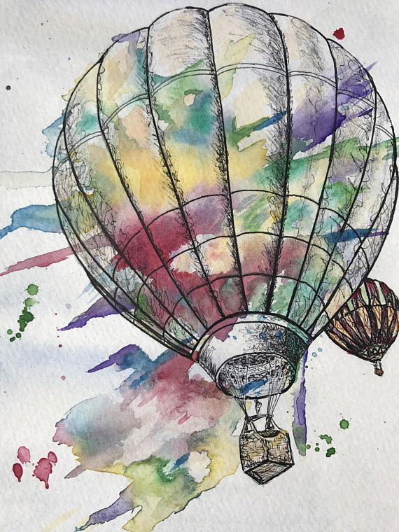 SALE 13% OFF from April 13 - May 1st. Wanderlust Hot air balloon water color and ink, decor, rainbow