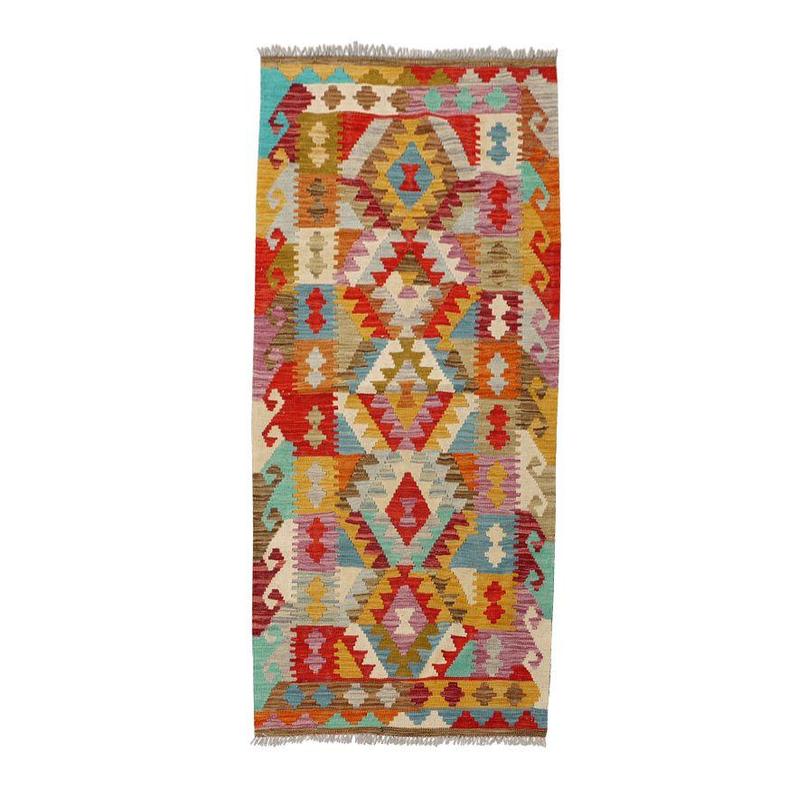 "2'8"" X 6'2"" Colorful Wool Handwoven Maimana Kilim"